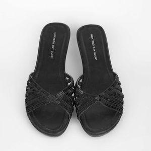 3/$15 Montego Bay club black sequin wedges